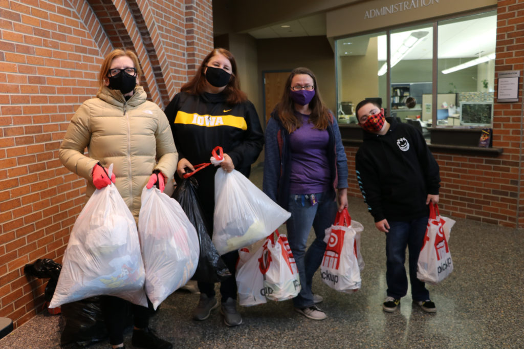 Group of volunteers collecting donations