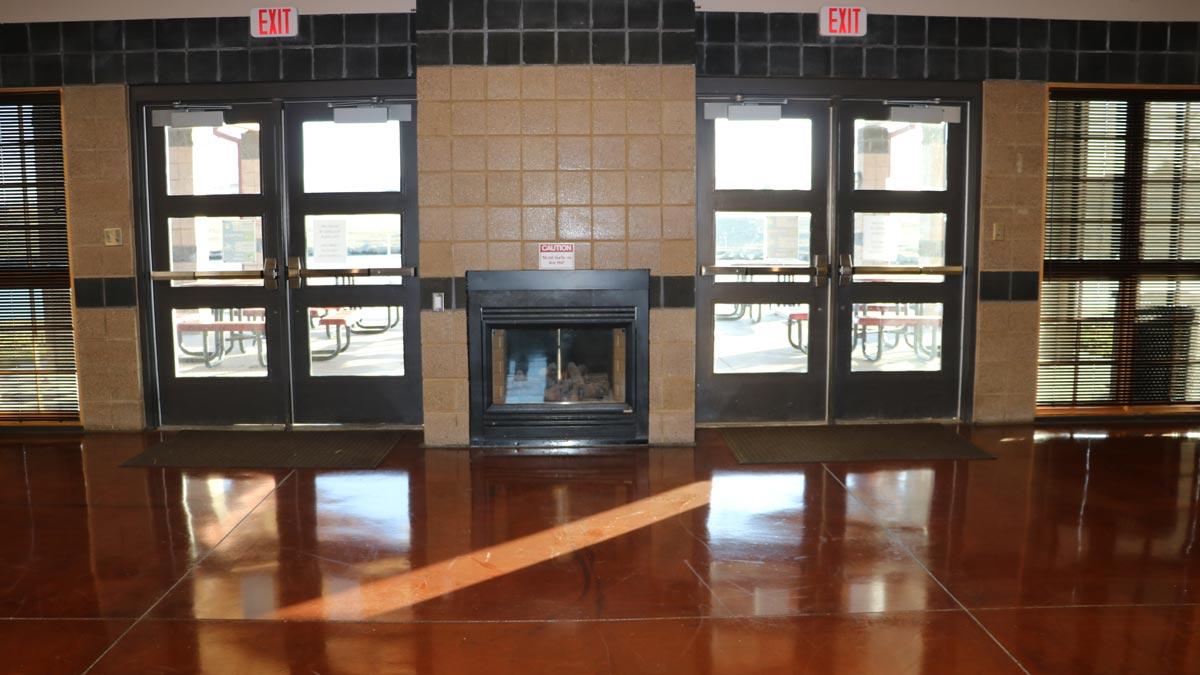 Pavillion Entrance and fireplace