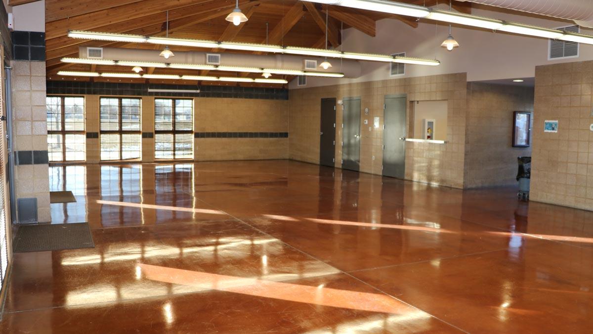 Large open room inside pavilion