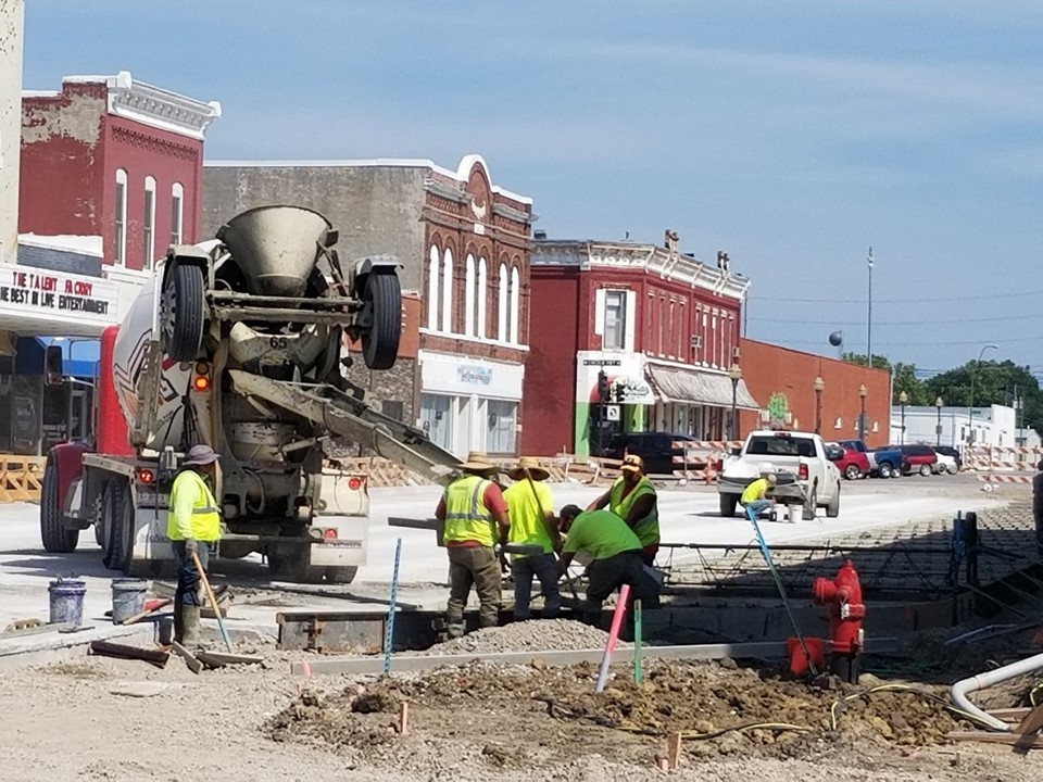 Planning and Zoning crew working on street in downtown