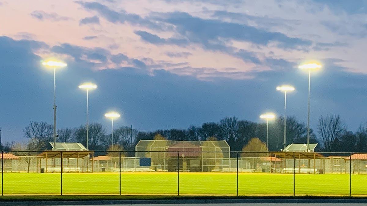 Score field at sunset