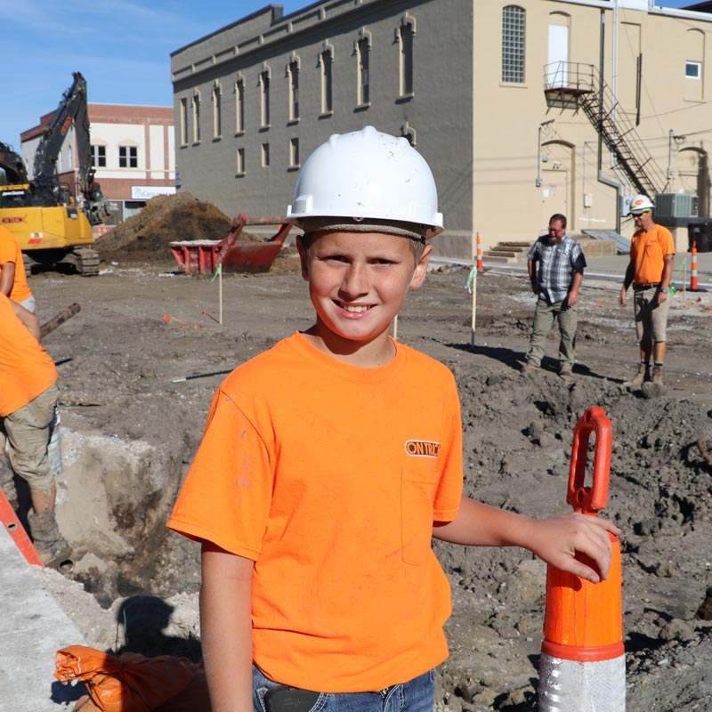 Young boy at a construction zone