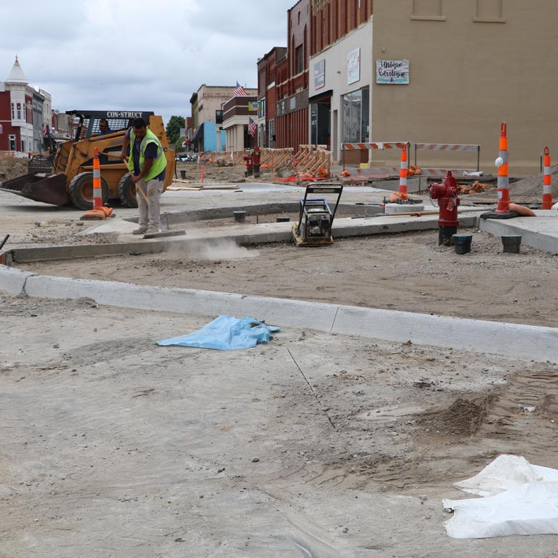 Sidewalk being constructed downtown