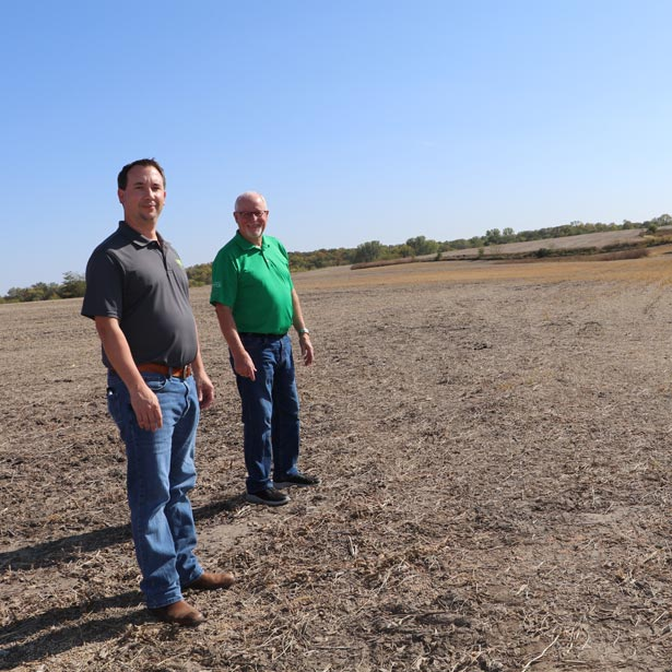 Wastewater Department employees in empty field