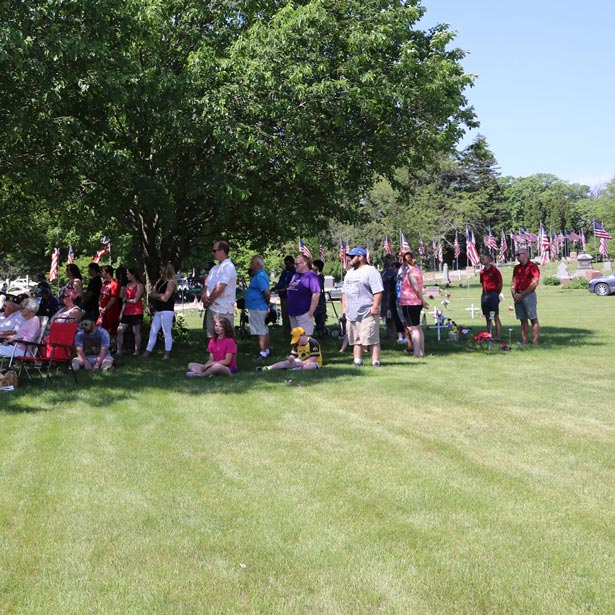 Crowd at the city cemetery for memorial day
